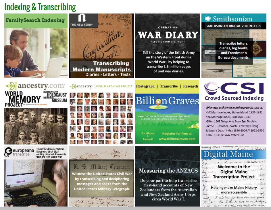 Genealogy Volunteer Opportunities -- All Kinds for All Ages